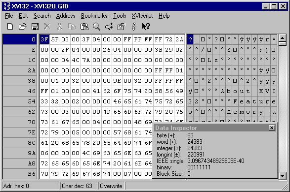 Tools :: #Hex #Editor #Windows #Hacking  XVI32 :: Hex Editor  XVI32 is a freeware hex editor running under Windows 9x/NT/2000/XP/Vista/7. The name XVI32 is derived from XVI, the roman notation for the number 16. The current release 2.55 is available since June 26, 2012.  Tutorials & Download :: http://www.toolwar.com/2014/04/xvi32-hex-editor-tools.html