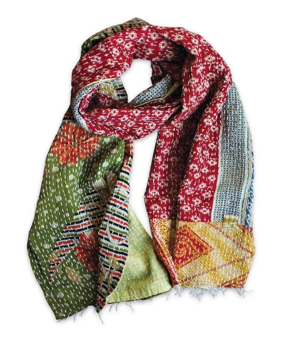 Old Yak Bazaar's kantha collection featuring scarves repurposed from vintage saris!