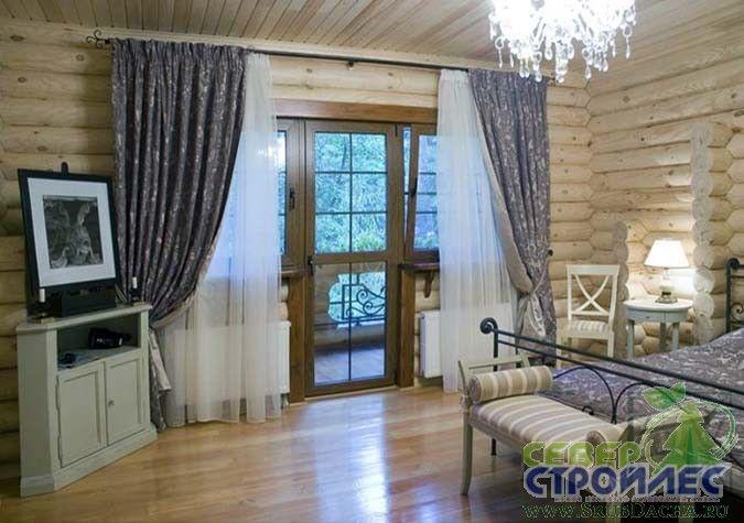 интерьер дома из оцилиндрованного бревна фото | Фото интерьеров