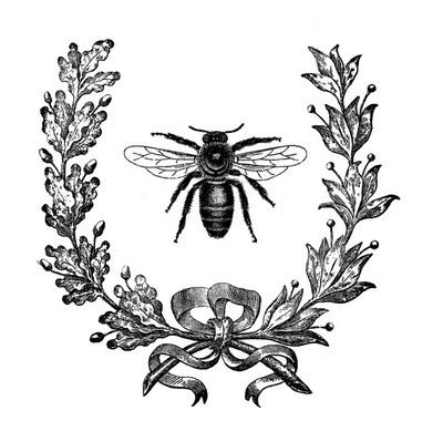 Graphics Fairy: Awesome Vintage Images for all kinds of projects: Wreath from an old French Journal, with a cute Bee image!