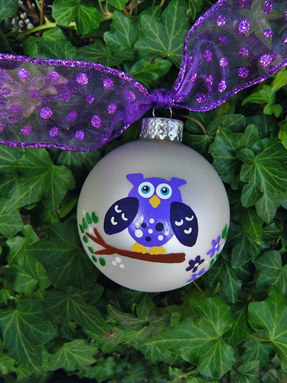 Owl Ornament - Personalized Birthday or Christmas Ornament - Handpainted Glass Ball
