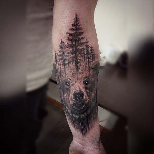 orman ve ayı dövmesi kol