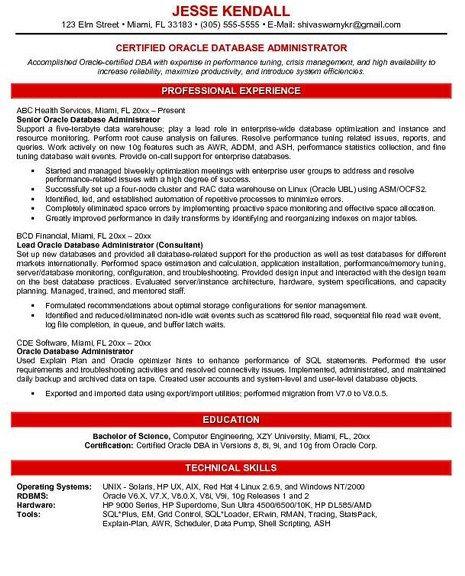 Database Administrator Resume Sample Http Getresumetemplate Info 3768 Database Administrator Res Resume Examples Sales Resume Examples Good Resume Examples