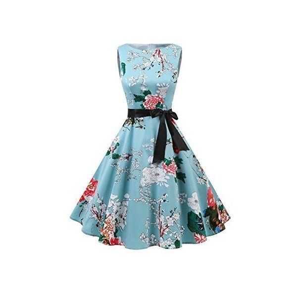 Gardenwed Women's Vintage 1950s Rockabilly Audery Swing Dress... ($23) ❤ liked on Polyvore featuring dresses, retro prom dresses, blue swing dress, vintage dresses, rockabilly dresses and retro cocktail dresses