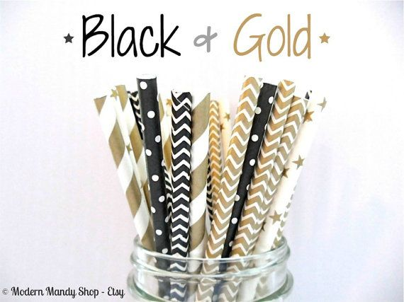25 or 50 Black and Gold Mixed Paper Straws (Black & Gold - Pack of 25 or 50) New Years or Hollywood Party - Black and Gold Wedding or Party