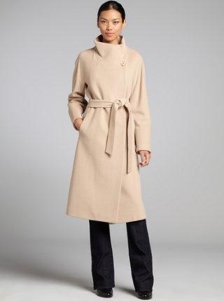 light camel wool-cashmere blend belted full length coat