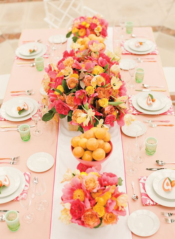 Pretty pink & orange tablescape.