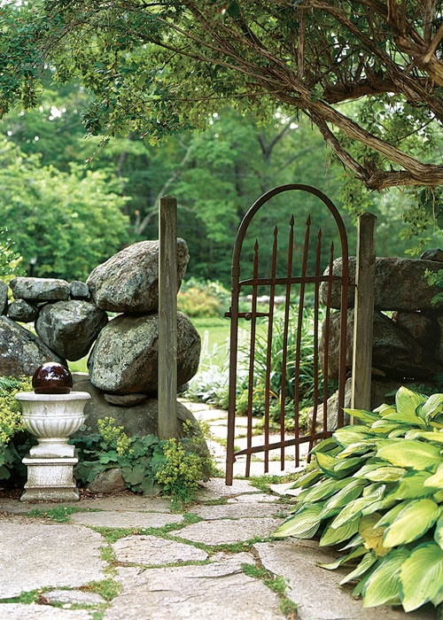 Stacked Rock Garden Gate Hostas And Urn For Our Backyard Gates