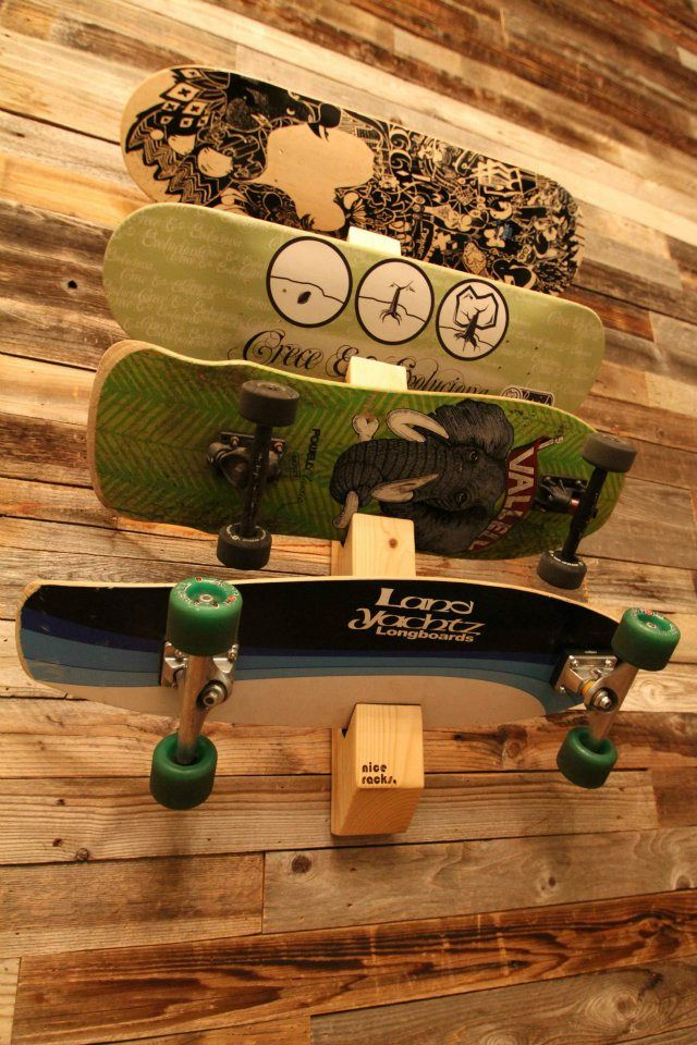 Racks By Quiver: Skateboard Rack  http://racksbyquiver.com/#shop