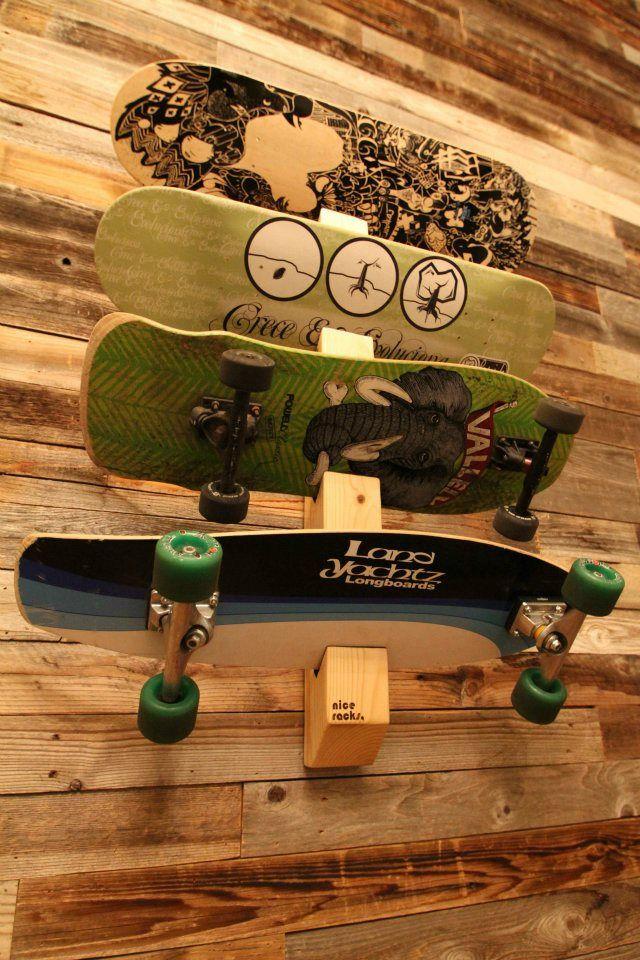 Racks By Quiver: Skateboard Rack  http://racksbyquiver.com/#shop                                                                                                                                                                                 More
