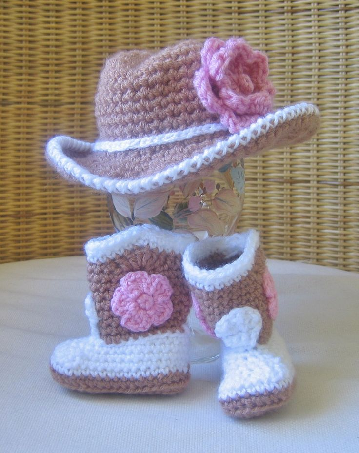 Tiny cowgirl set, crochet cowboy hat and boots with pink flowers