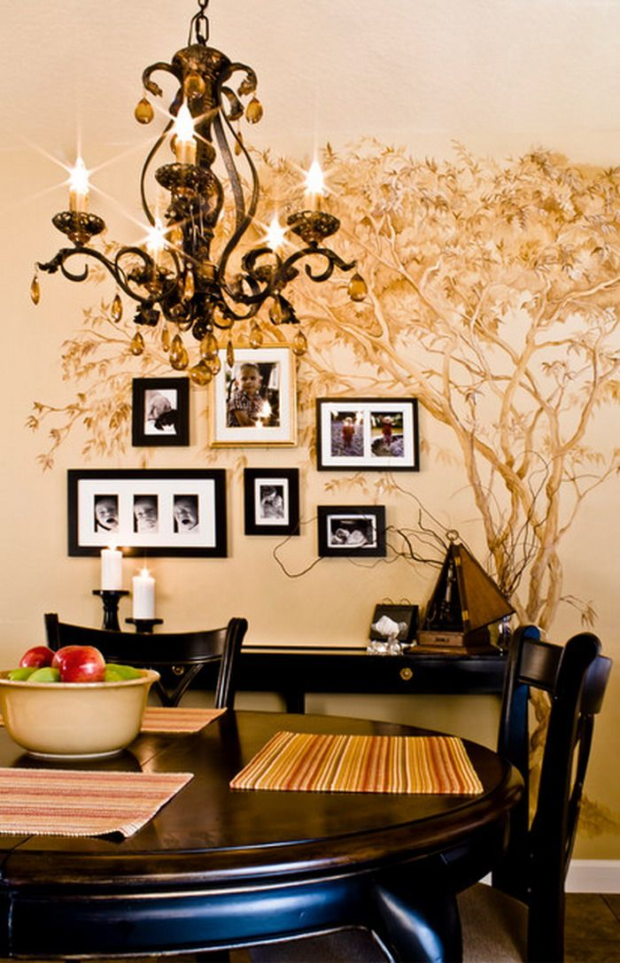 family tree wall mural design with black chandelier lights round dining table set and dining chairs - Wall Mural Designs Ideas