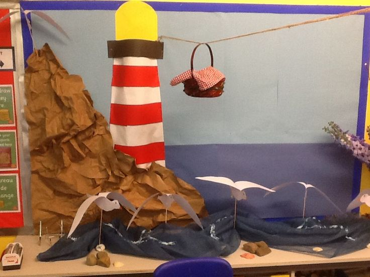 Lighthouse keepers lunch display with seagull puppets - before the childrens work went up