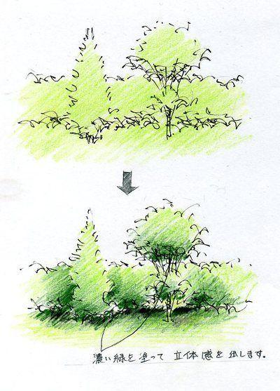 樹木の描き方(手描きパースの描き方) l 手描きパースの描き方ブログ、パース講座(手書きパース)