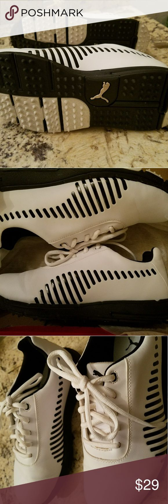 Puma B/W Jr. Ladies Golf Shoes-Like new! **Now on Sale**They were worn only once for a few hours to a golf tournament event. Like New condition! Classic black and white golf design. Jr size 5,like ladies size 6. Puma Shoes Athletic Shoes