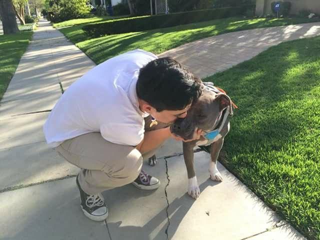 Andre Millan geeft affectie aan Junior na een fotoshoot.