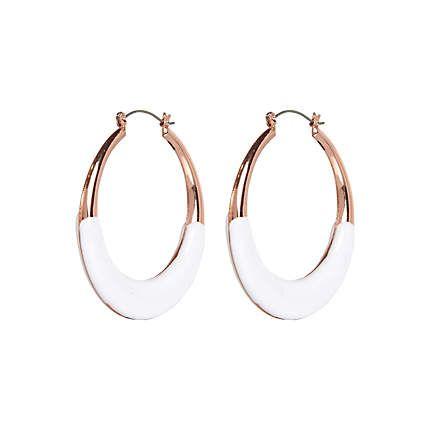White bottom hoop earrings
