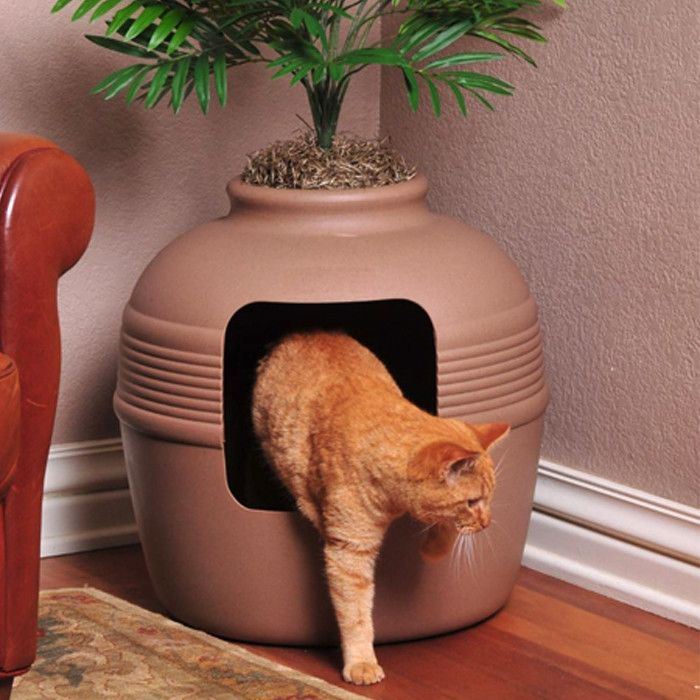Good Pet Stuff Co. Covered Hidden Cat Litter Box with Decorative Planter Hoping Jack wouldn't eat the plant