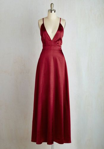 Reading Lady Dress - Red, Solid, Special Occasion, Cocktail, Holiday Party, Homecoming, A-line, Maxi, Sleeveless, Satin, Woven, Better, Long