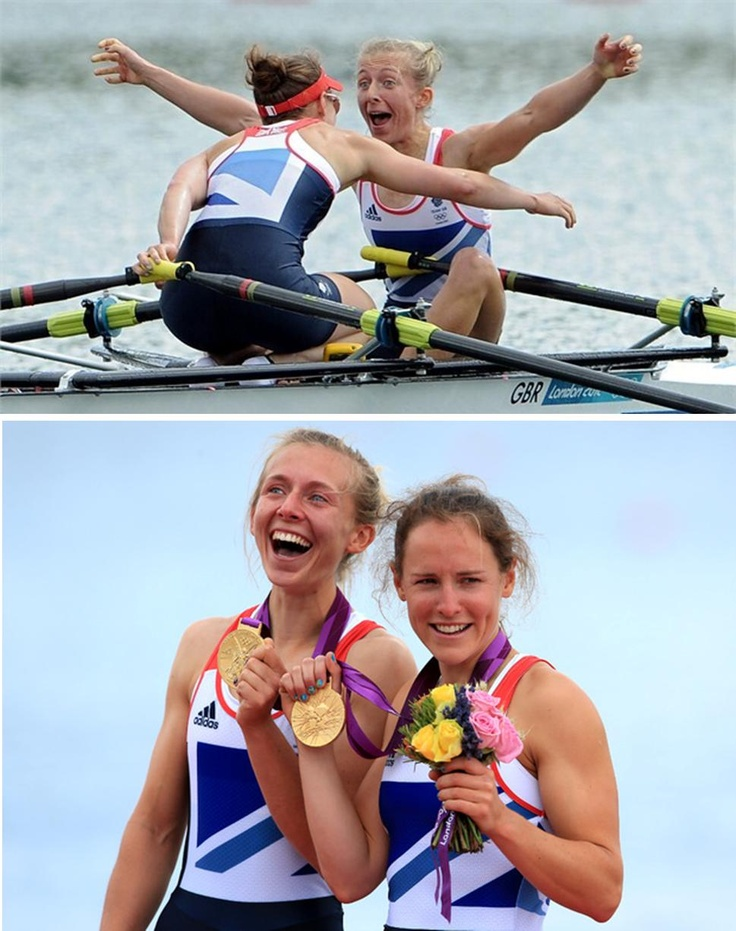 Olympic Games gold medalists: Women's lightweight double sculls pair, Katherine Copeland and Sophie Hosking of Great Britain.