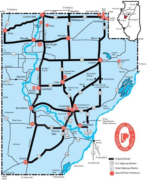 River Map Scenic Spoon Drive Illinois