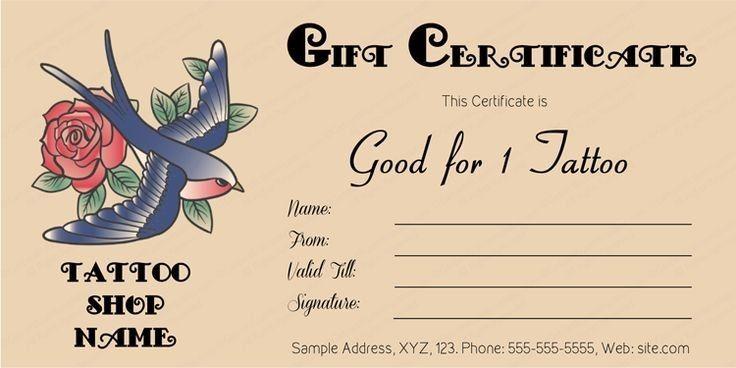 Tattoo Gift Certificate Template Aesthetecurator Com Gift Certificate Template Printable Gift Certificate Gift Certificates