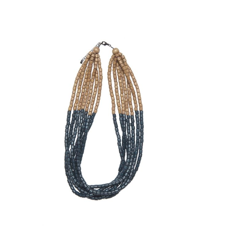 Elk Accessories necklace -  a Scandinavian colour mix of natural, mustard and navy wood in 7 rows.