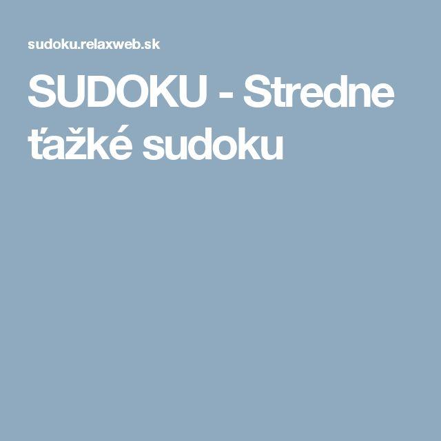 SUDOKU - Stredne ťažké sudoku