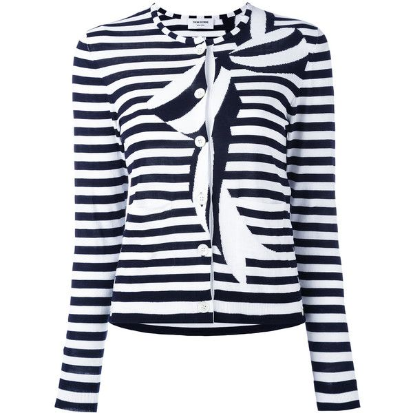 Thom Browne striped bow cardigan (€1.005) ❤ liked on Polyvore featuring tops, cardigans, blue, blue striped cardigan, thom browne cardigan, blue cardigan, blue top and stripe top