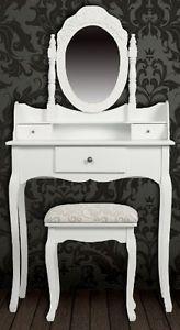 white chabby chic furniture, vanity table | ... Table set with Stool & Vanity Mirror Drawer Elegant Shabby Chic White