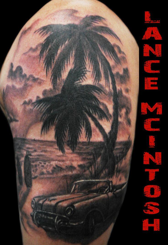 Classic car beach scene my tattoos pinterest cars for Beach scene tattoos