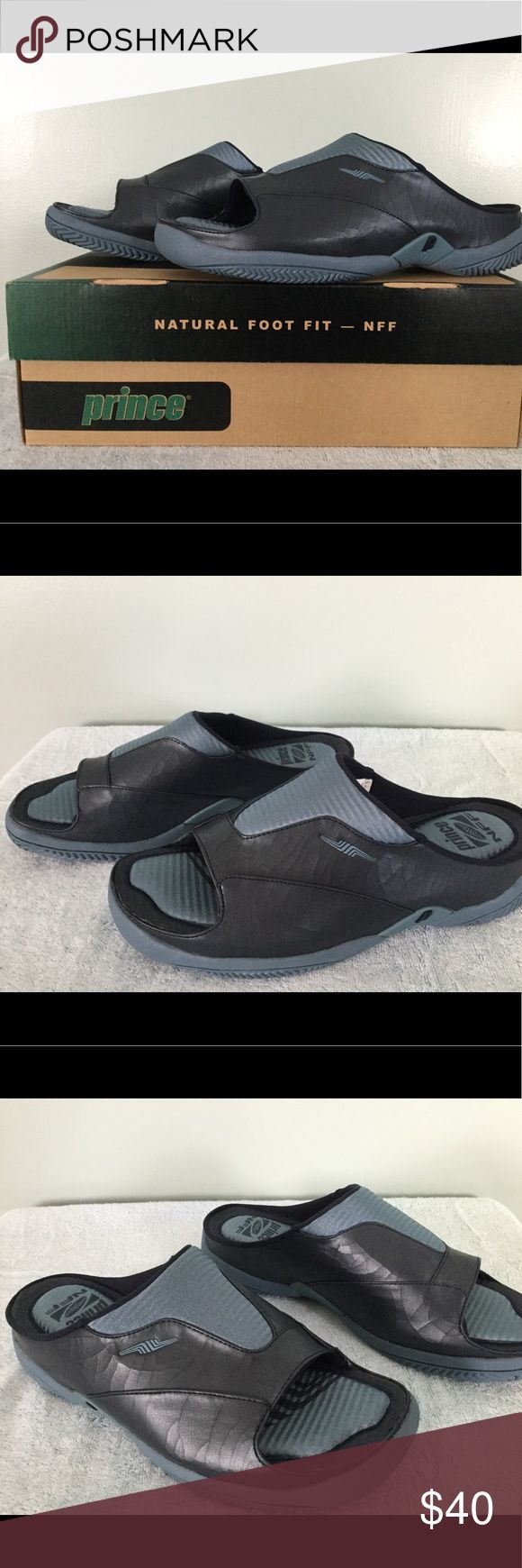 PRINCE, Women's, Navy NFFIT SLIDE MULES, Sz 9 PRINCE, Women's NFFIT SLIDE Sneakers / Mules Step-In Style, Size 9. Sneakers are Navy/Light Blue. Leather has minimal drying to texture as seen in photos. BRAND NEW in Box! Prince Shoes Athletic Shoes