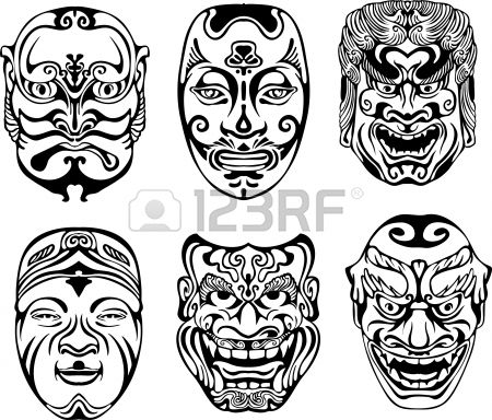 Japanese Nogaku Theatrical Masks. Set of black and white vector illustrations.