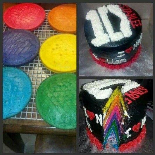 One Direction Cake /Rainbow cake