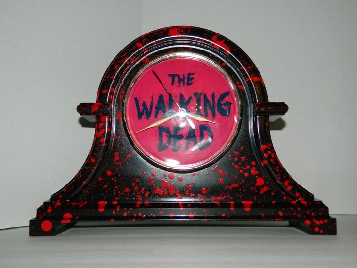 Blood Splattered The Walking Dead Inspired Mantel Clock Battery Operated Spatter by 1NerdCreations on Etsy