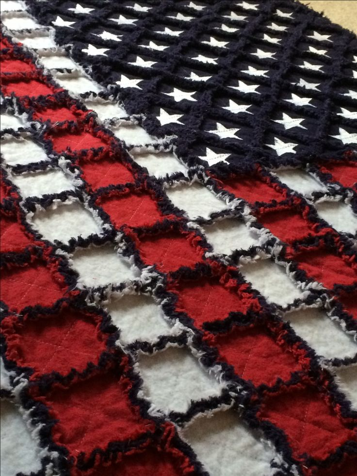 "42""X32"" American Flag Rag Quilt by LoveToSew4You on Etsy https://www.etsy.com/listing/238430353/42x32-american-flag-rag-quilt"
