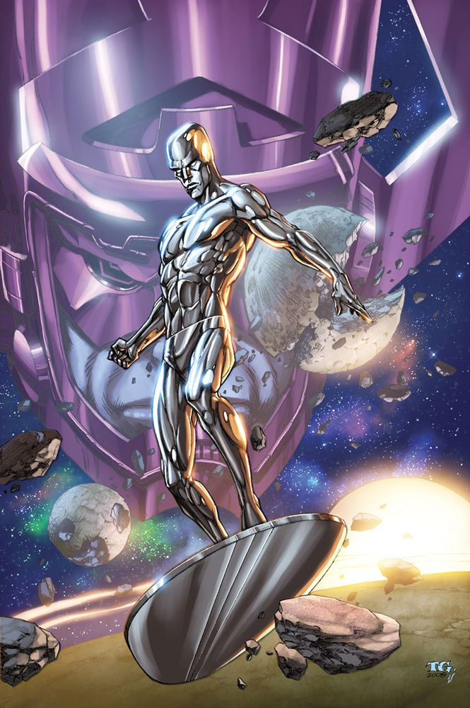 Silver Surfer and Galactus by Tom Grummet  Auction your comics on http://www.comicbazaar.co.uk