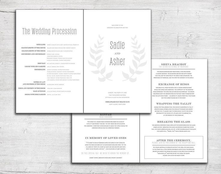 leaf folded wedding program for jewish marriage ceremony or catholic mass order of service bulletin