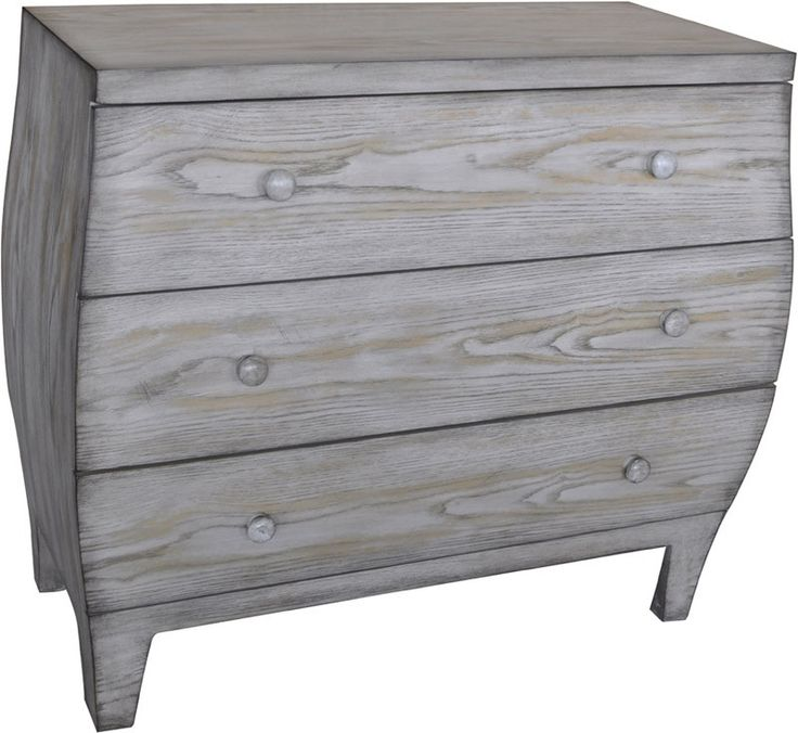 Crestview Collection CVFZR1637 Plymouth 3 Drawer Light Driftwood Curved Chest 36 X 16 X 31.5