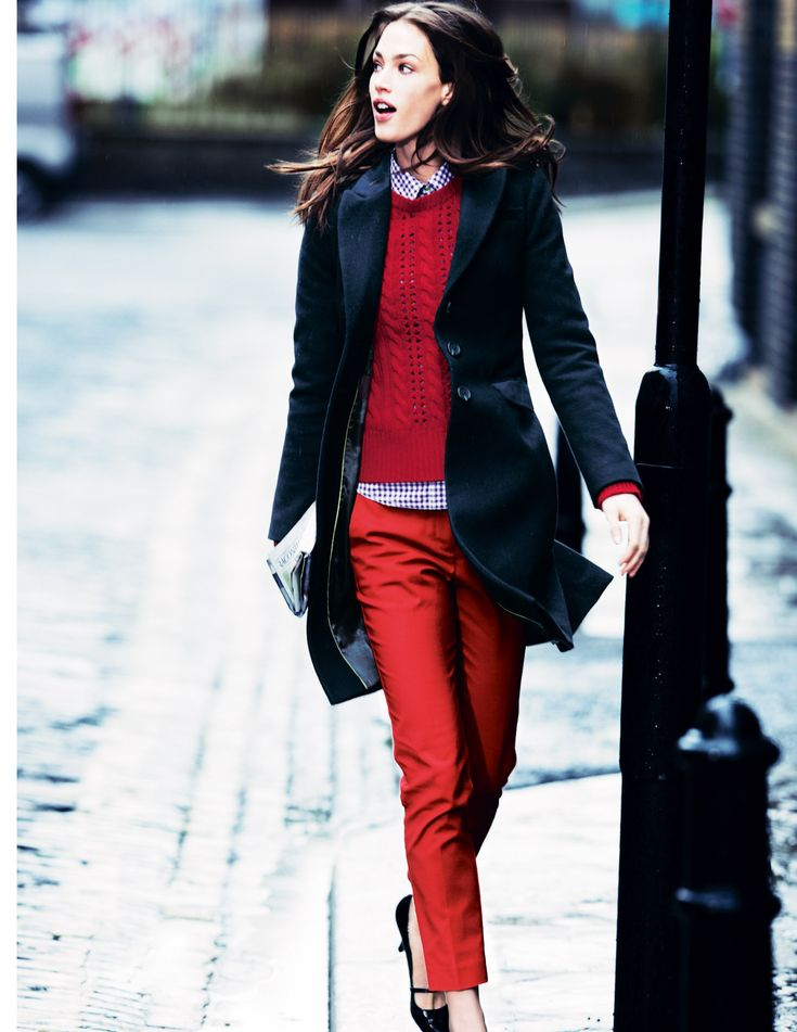 red and velvet trim coat