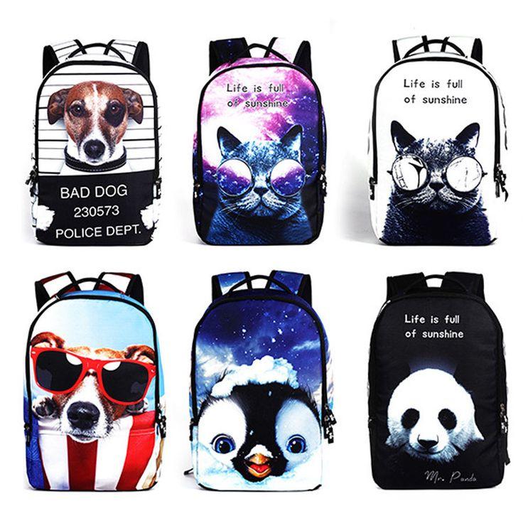 Women Girls Cool 3D Printed Animal Backpack Bag Travel Shoulder Bag Rucksack