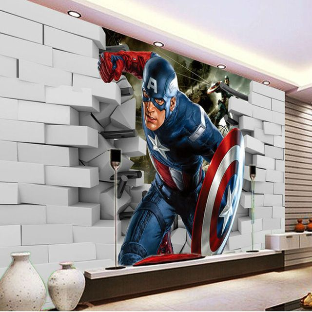 3d captain america wallpaper avengers photo wallpaper cool for Boys mural wallpaper