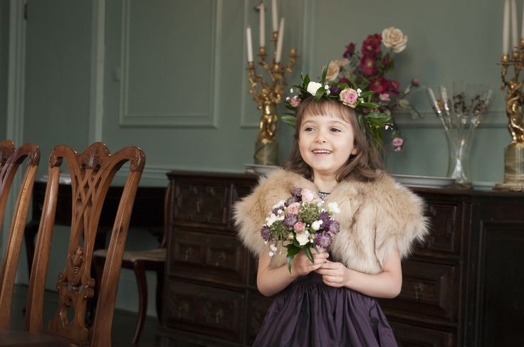 Bridesmaids inspiration #winter #wedding faux fur jacket by Blanche in the Brambles, dress by Damselfly flower girls.