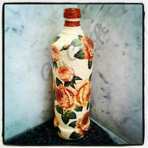 Decoupaged Bottle- use as flower vase or as table lamp holder