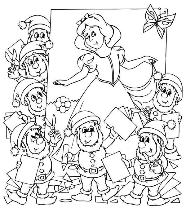 Ausmalbild Märchen: Kostenlose Malvorlage: Schneewittchen und die sieben Zwerge kostenlos ausdrucken