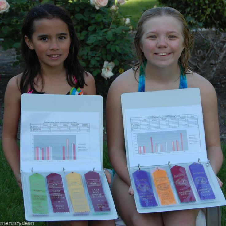 Swim team ribbons and time binder -- Handy way to keep track of your kids' times, ribbons, etc. without taking up huge amounts of space or making the awards the focus of their activities!