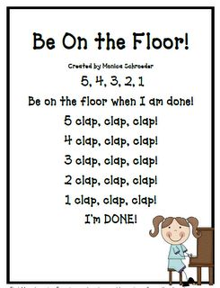Classroom Freebies Too: A Transition Chant Freebie!~I can see this for Be in Your Seat for high schoolers,  A count down without claps.