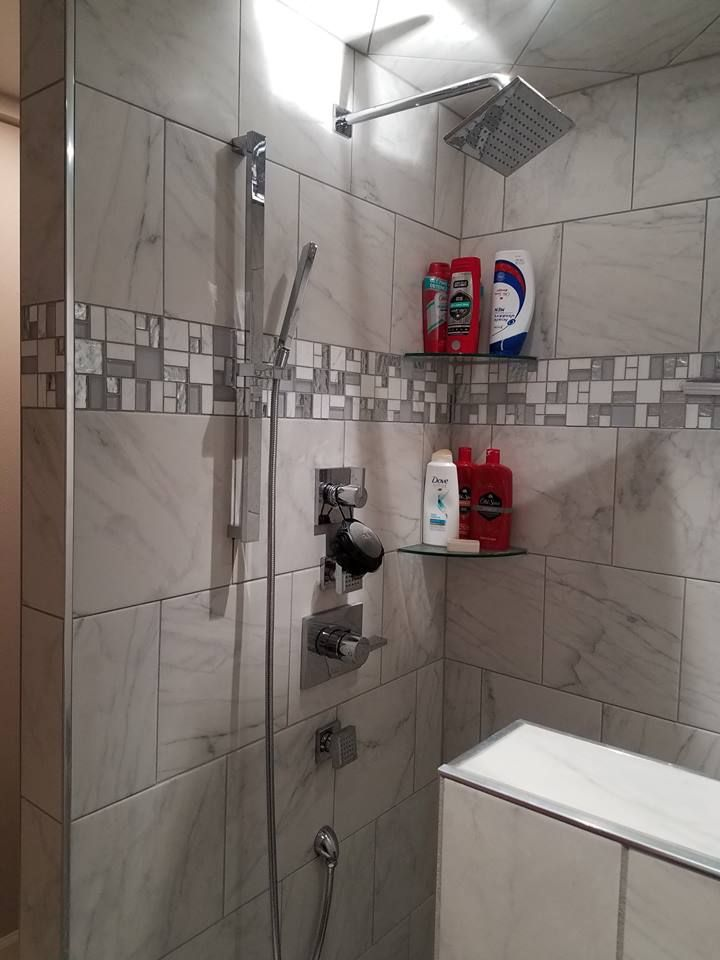 Tile Shower Featuring A River Rock Floor With A Marble Like Wall Tile U0026  Abalone Part 97