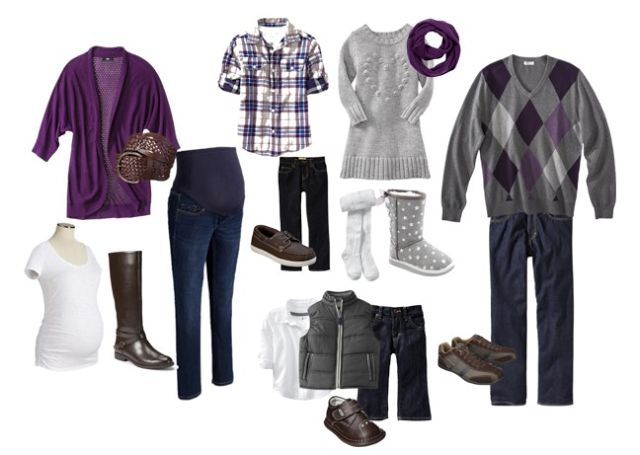 Family Picture Outfits:  Purple & Grey color scheme for our maternity session. -jenni from the blog