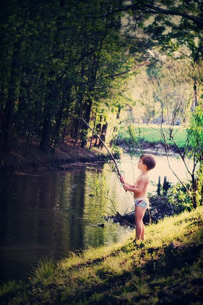 So cute. Little boy fishing
